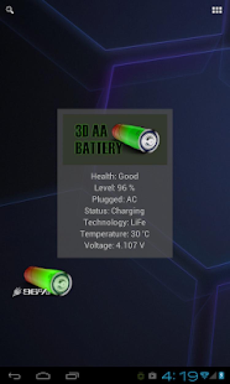 3D AA Battery Widget скриншот 1