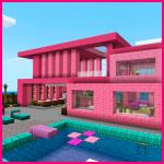 Розовый дом с мебелью . Майнкрафт карты и моды.