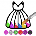 Glitter dress coloring and drawing book for Kids