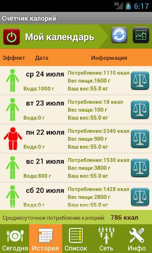 Калькулятор калорий для похудения скриншот 2